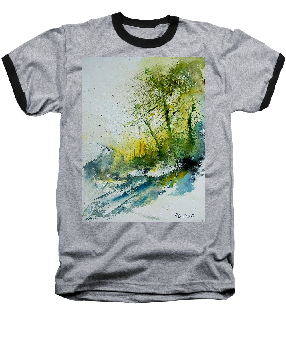 River Baseball T-Shirt featuring the painting Watercolor 181207 by Pol Ledent