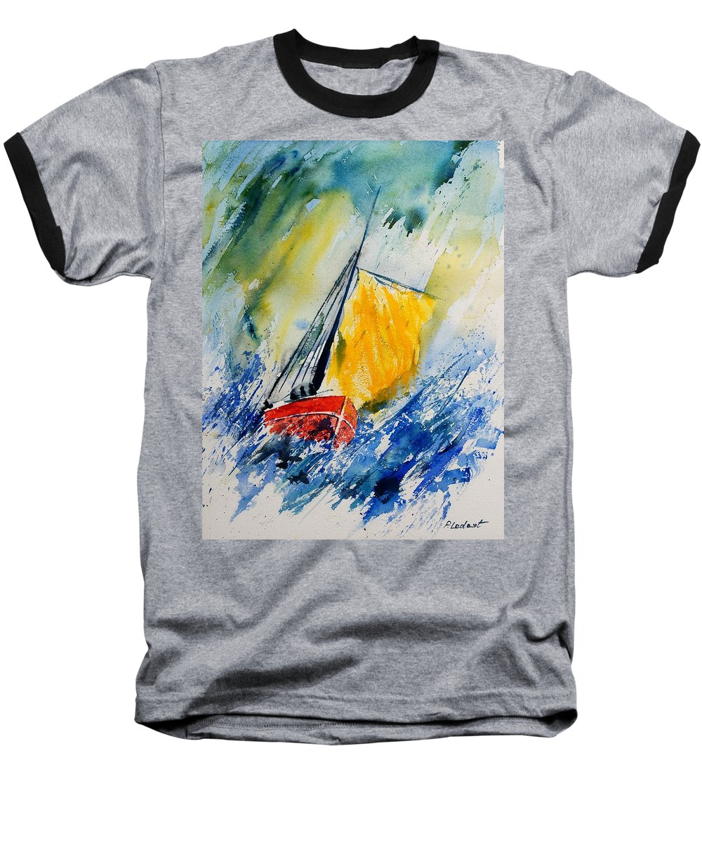 Sea Waves Ocean Boat Sailing Baseball T-Shirt featuring the painting Watercolor 280308 by Pol Ledent