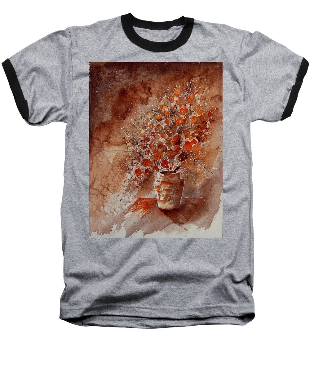 Poppies Baseball T-Shirt featuring the painting Watercolor Autumn Bunch by Pol Ledent