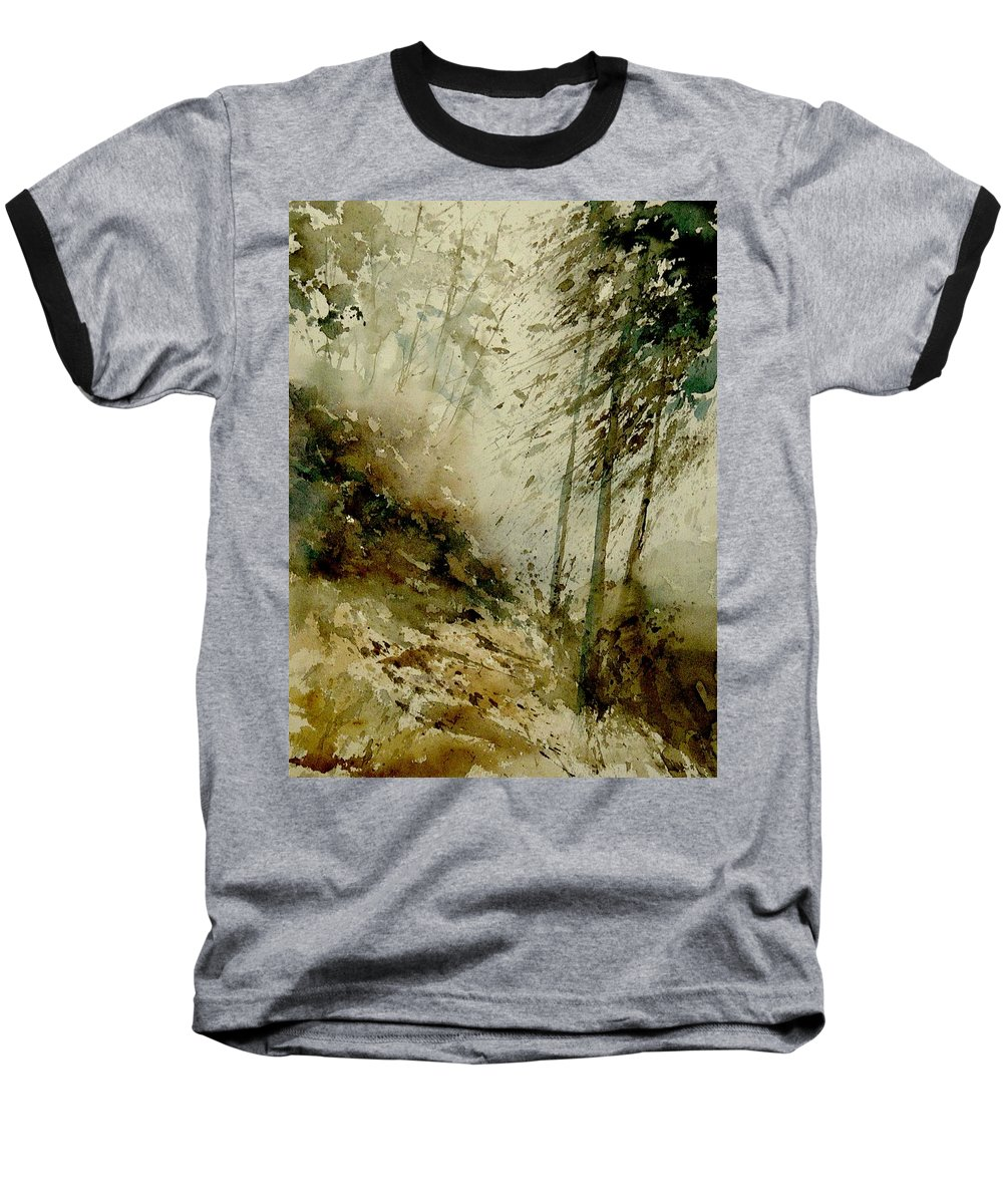 Landscape Baseball T-Shirt featuring the painting Watercolor Misty Atmosphere by Pol Ledent