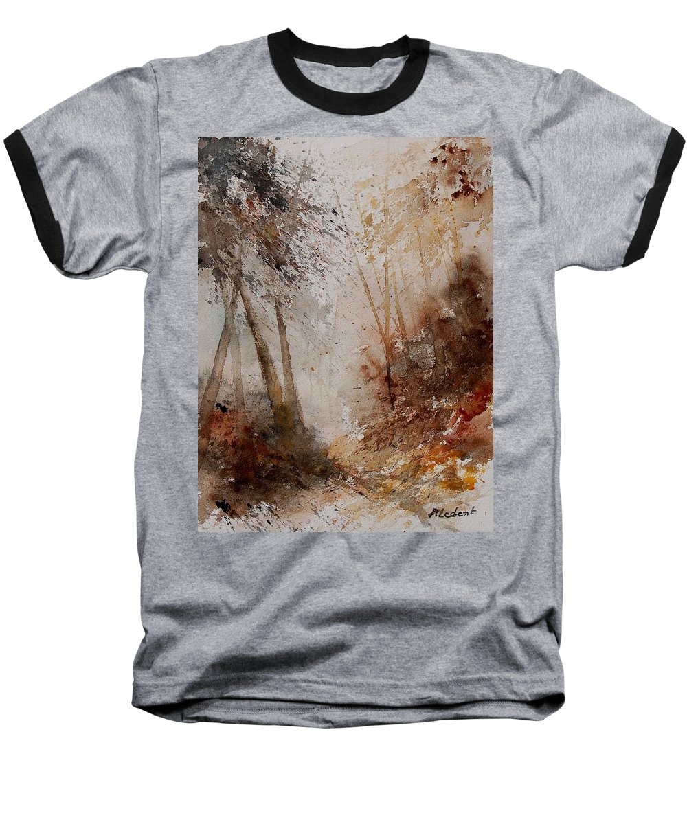 Landscape Baseball T-Shirt featuring the painting Watercolor Misty Path by Pol Ledent