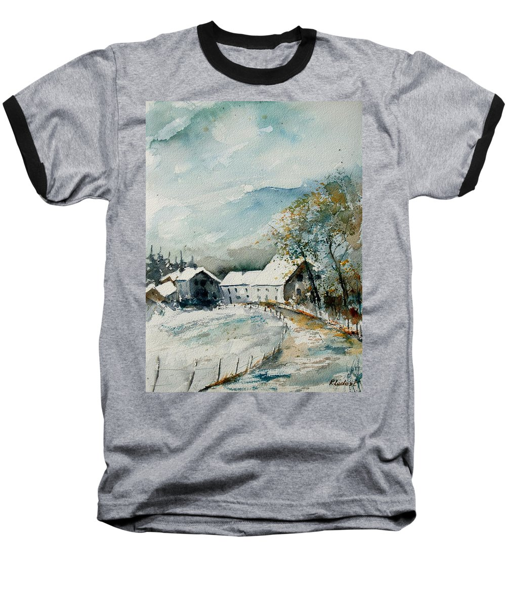 River Baseball T-Shirt featuring the painting Watercolor Sechery 1207 by Pol Ledent