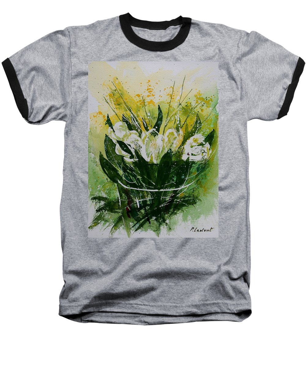 Flowers Baseball T-Shirt featuring the painting Watercolor Tulips by Pol Ledent