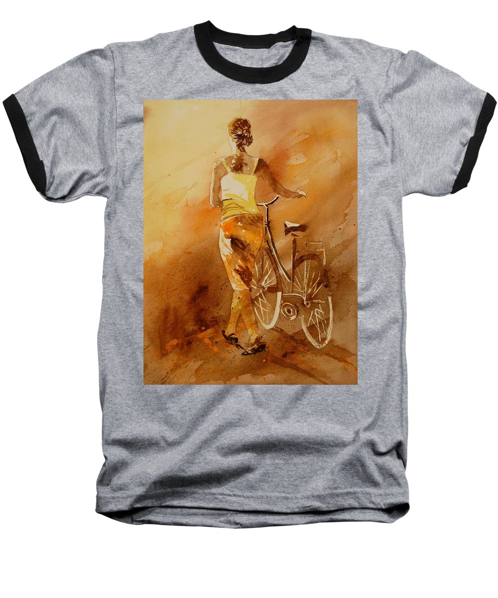 Figurative Baseball T-Shirt featuring the painting Watercolor With My Bike by Pol Ledent