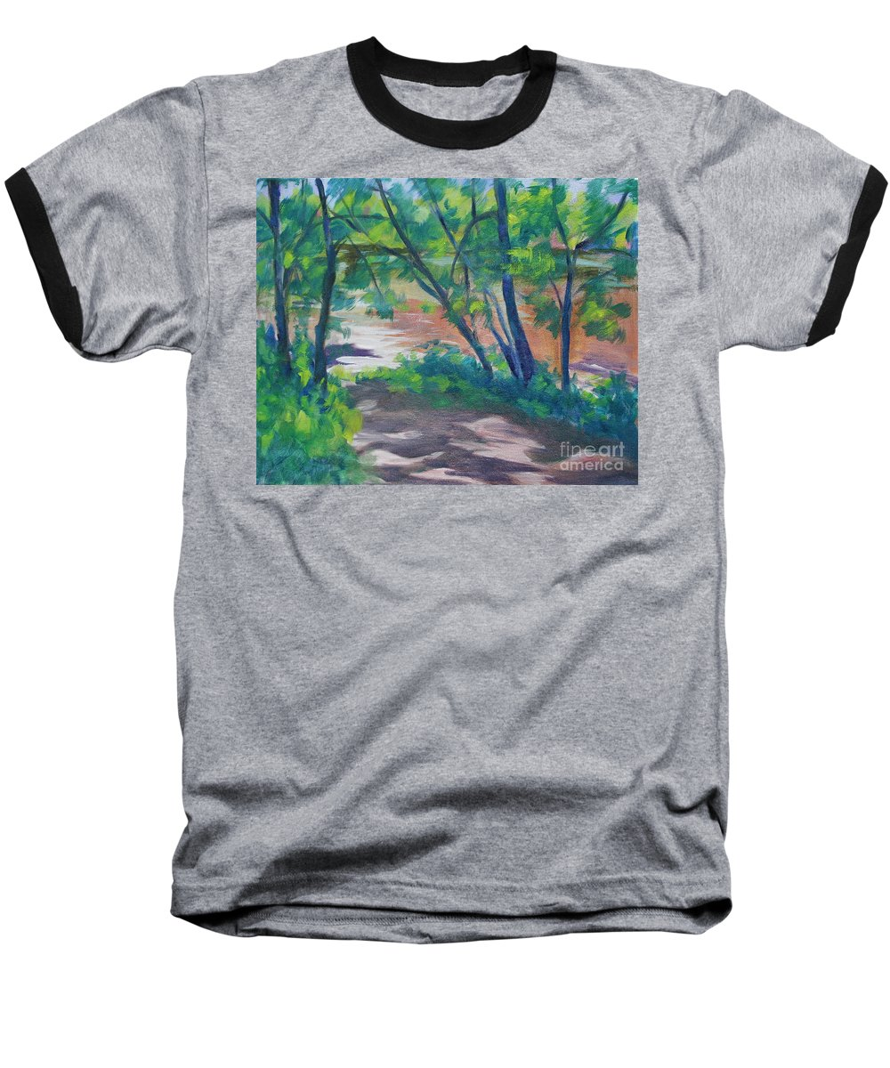 Landscape Baseball T-Shirt featuring the painting Watercress Beach On The Current River  by Jan Bennicoff