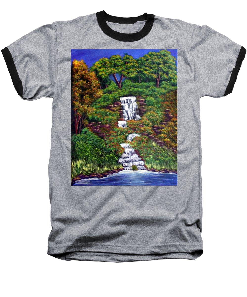 Waterfall Baseball T-Shirt featuring the painting Waterfall by Dawn Blair