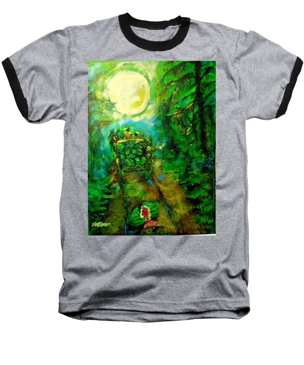 Watermelon Wagon Moon Baseball T-Shirt featuring the painting Watermelon Wagon Moon by Seth Weaver