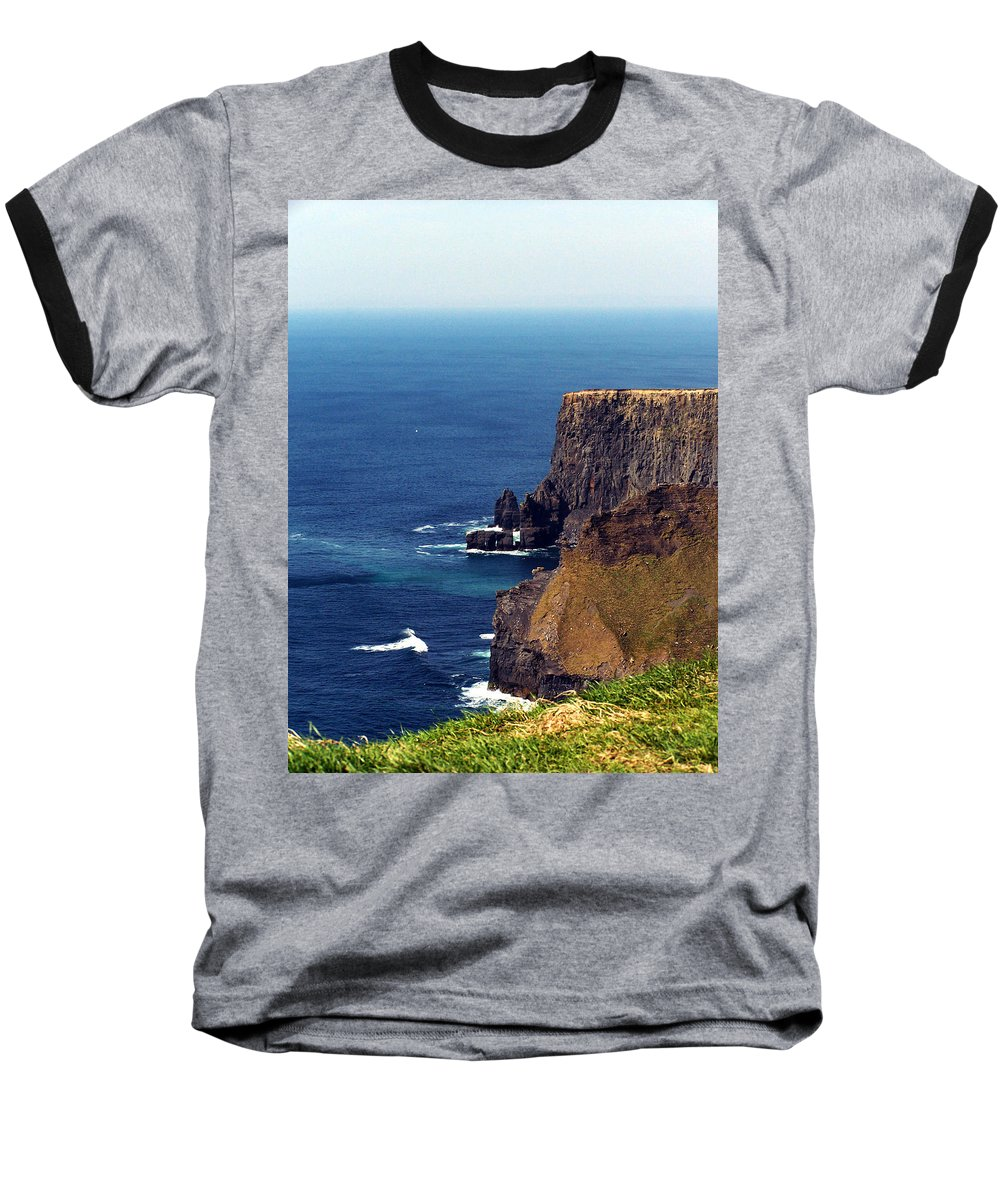 Irish Baseball T-Shirt featuring the photograph Waves Crashing At Cliffs Of Moher Ireland by Teresa Mucha