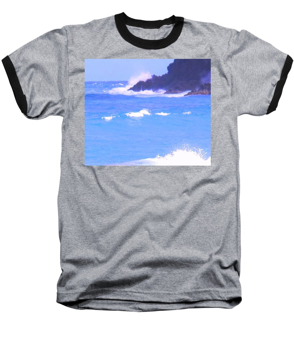Ocean Baseball T-Shirt featuring the photograph Waves Crashing by Ian MacDonald