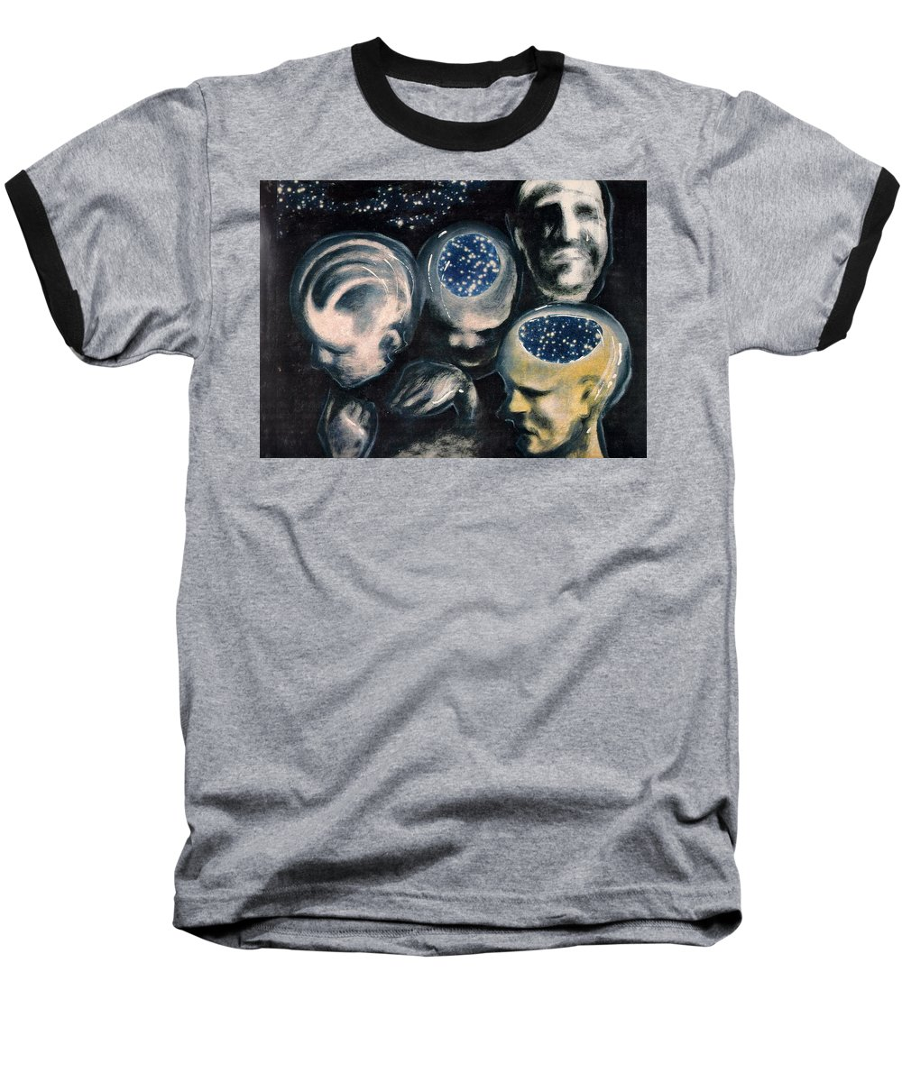 Universe Aura Thoughts Thinking Faces Mistery Baseball T-Shirt featuring the mixed media We Are Universe by Veronica Jackson