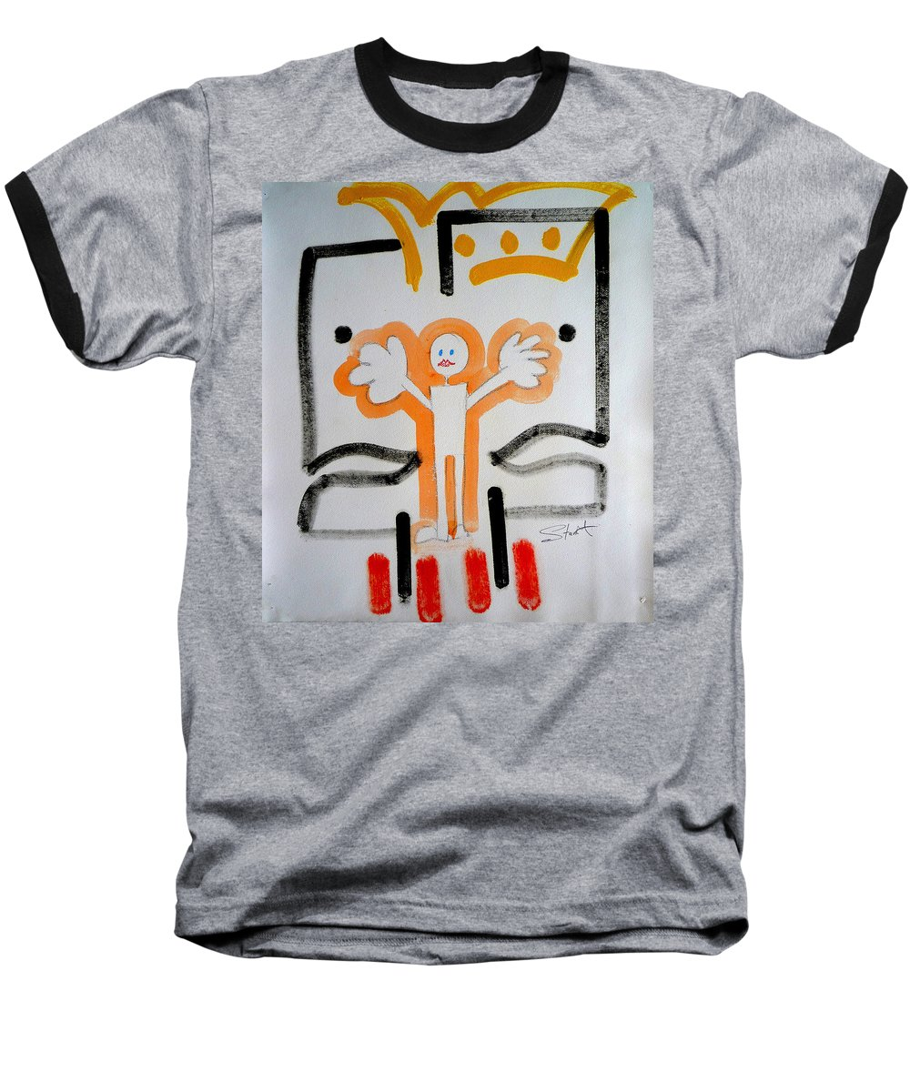 Drawing Baseball T-Shirt featuring the painting welcome to the U N by Charles Stuart