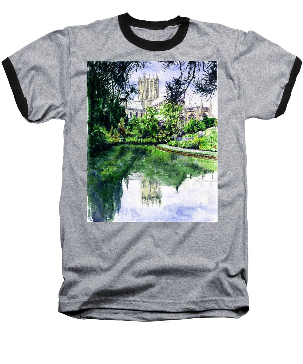 Wells Baseball T-Shirt featuring the painting Wells Cathedral by John D Benson