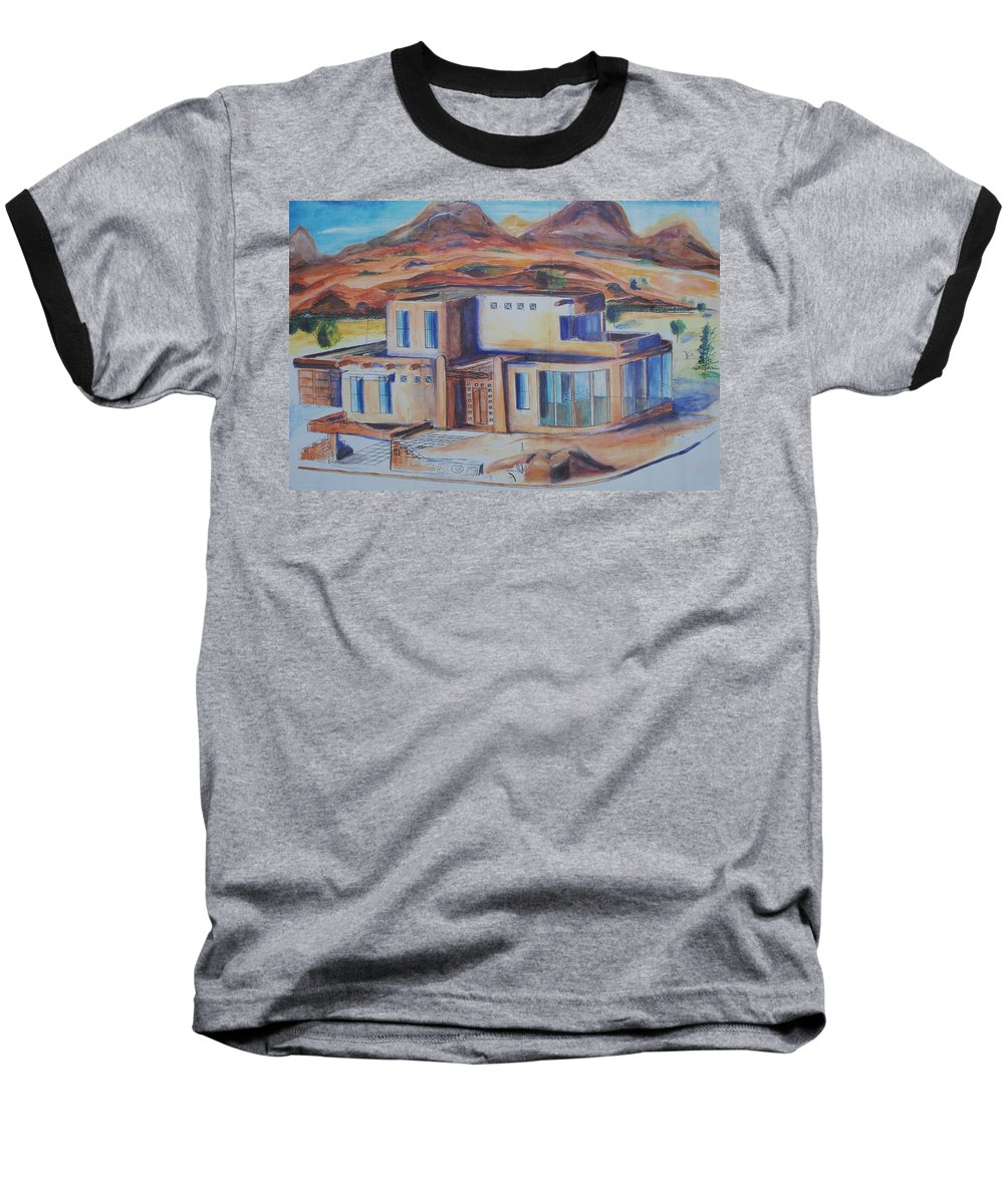 Floral Baseball T-Shirt featuring the painting Western Home Illustration by Eric Schiabor