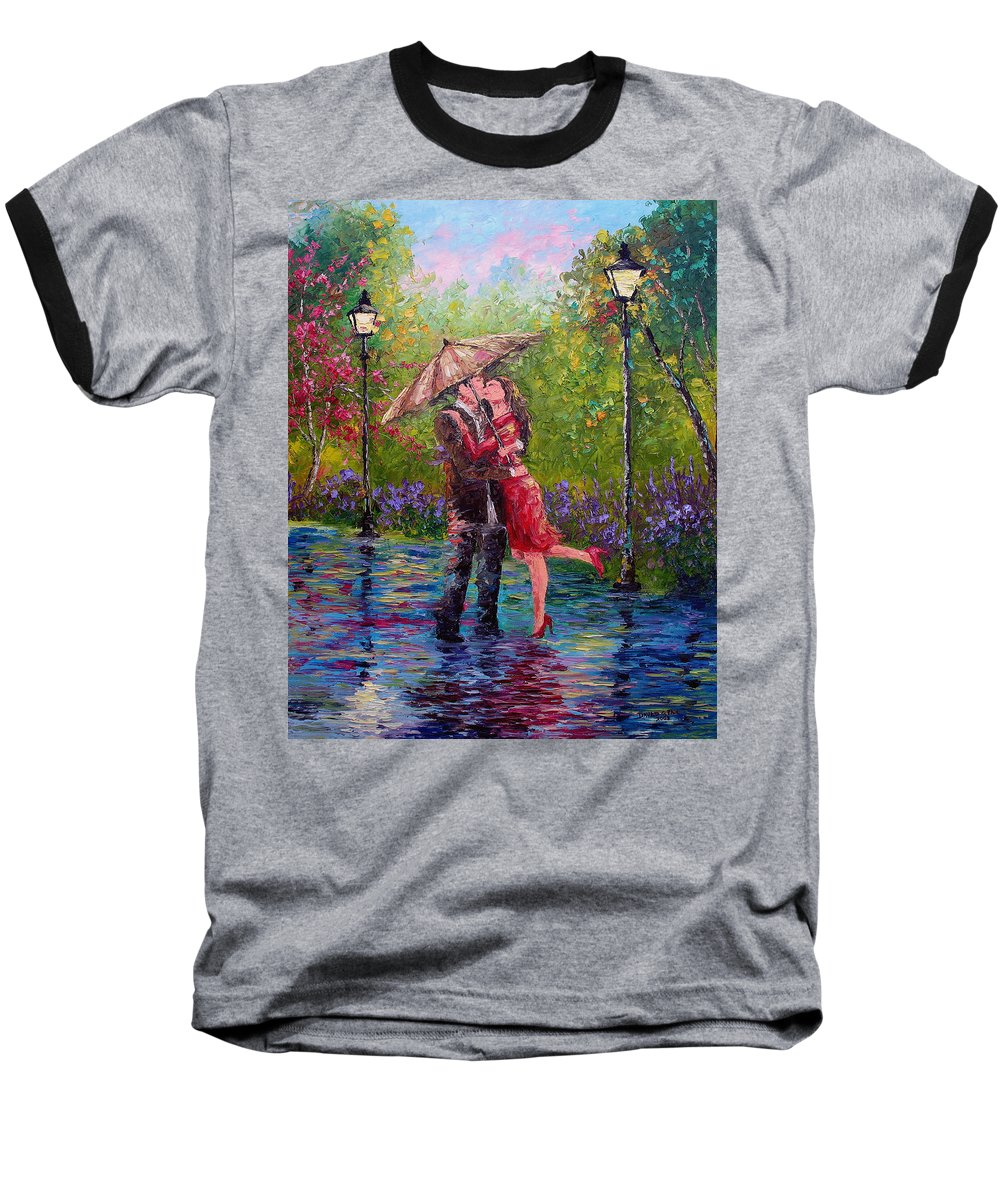 Kiss Baseball T-Shirt featuring the painting Wet Kiss by David G Paul