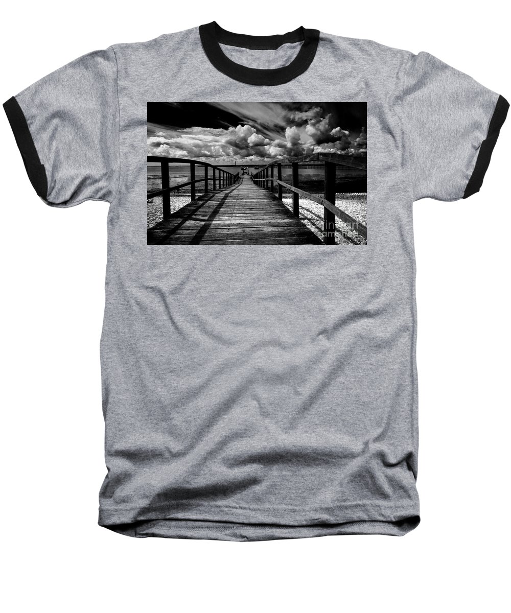 Southend On Sea Wharf Clouds Beach Sand Baseball T-Shirt featuring the photograph Wharf At Southend On Sea by Avalon Fine Art Photography
