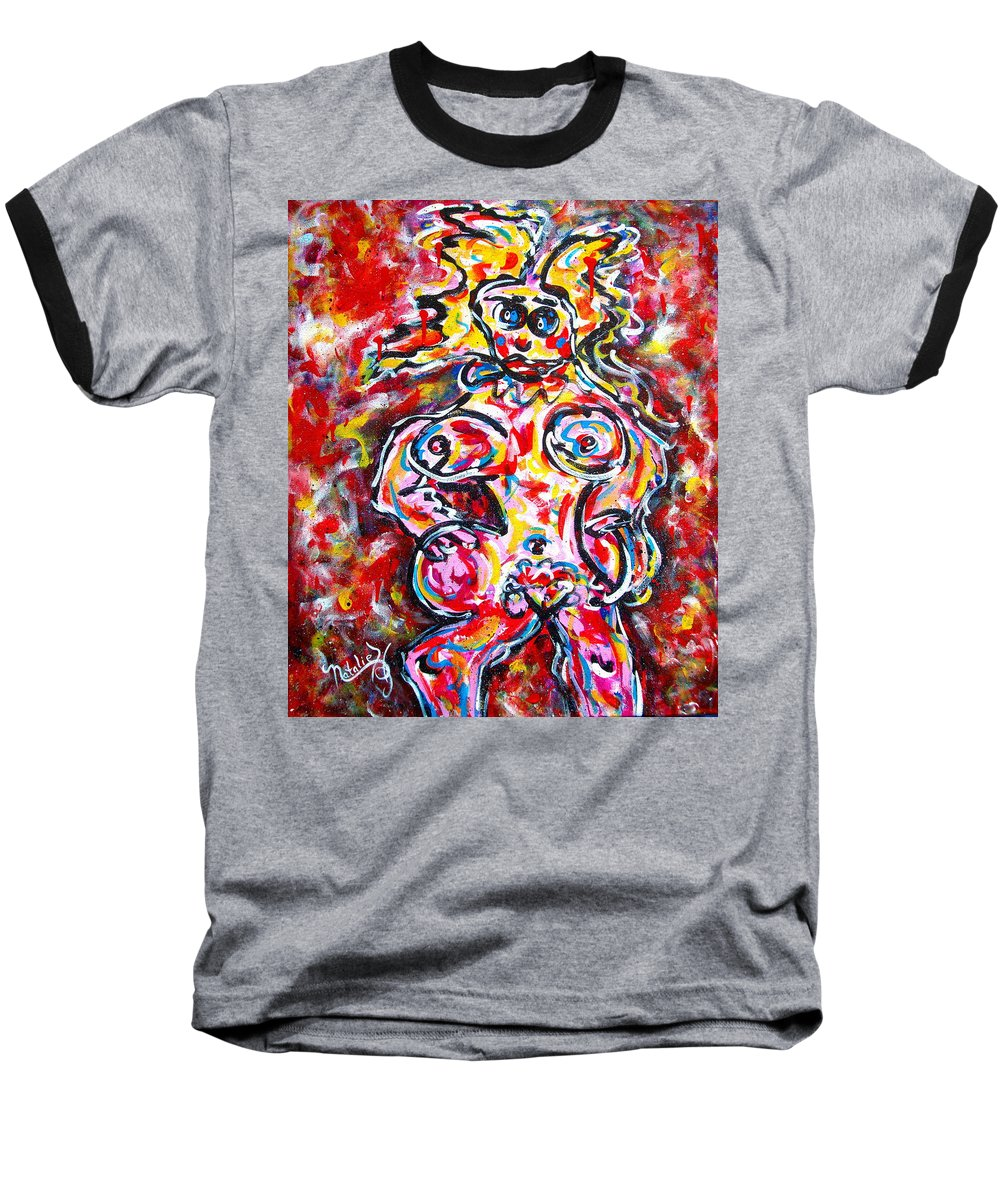Abstracts Baseball T-Shirt featuring the painting What Are You Looking At by Natalie Holland