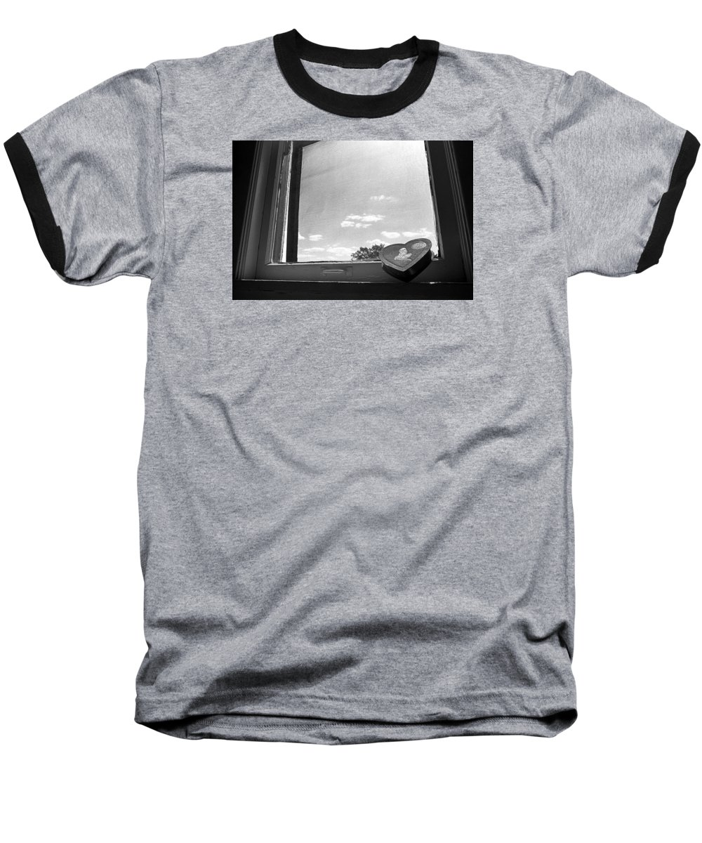 Window Baseball T-Shirt featuring the photograph What Remains by Ted M Tubbs
