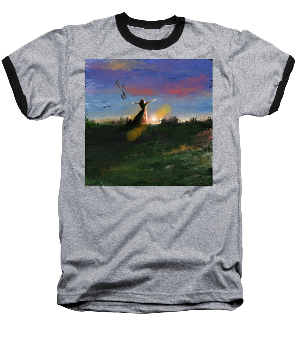 Morning Sunrise Star Woman Nature Sky Clouds Baseball T-Shirt featuring the mixed media What's The Story Morning Glory by Veronica Jackson