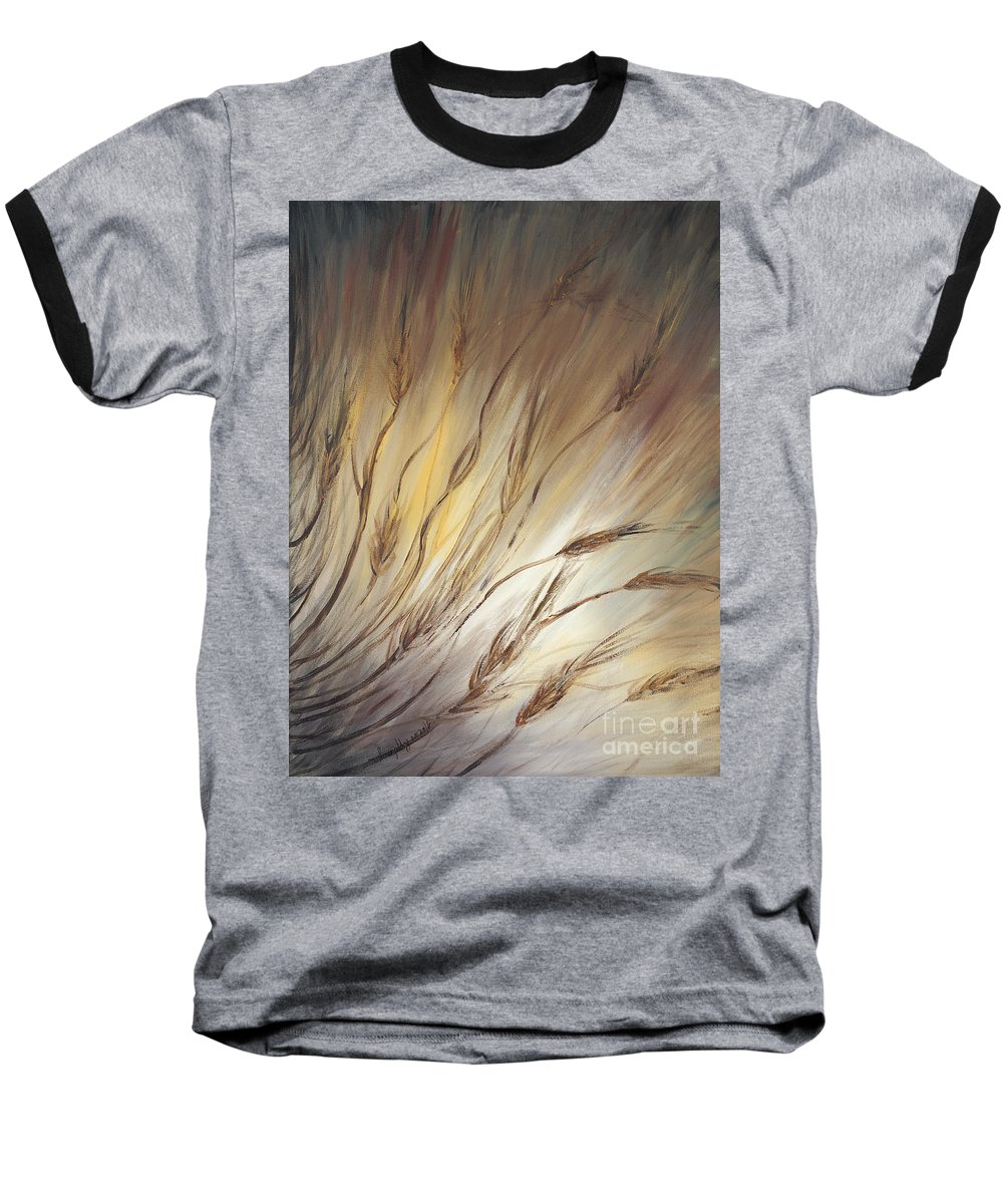 Wheat Baseball T-Shirt featuring the painting Wheat In The Wind by Nadine Rippelmeyer