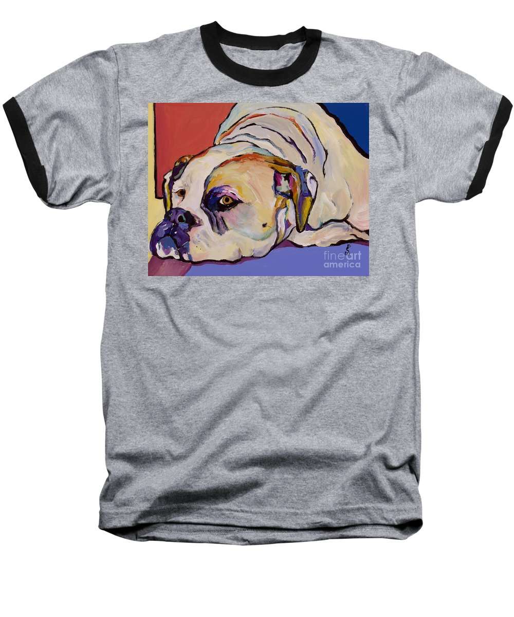 American Bulldog Baseball T-Shirt featuring the painting Where Is My Dinner by Pat Saunders-White
