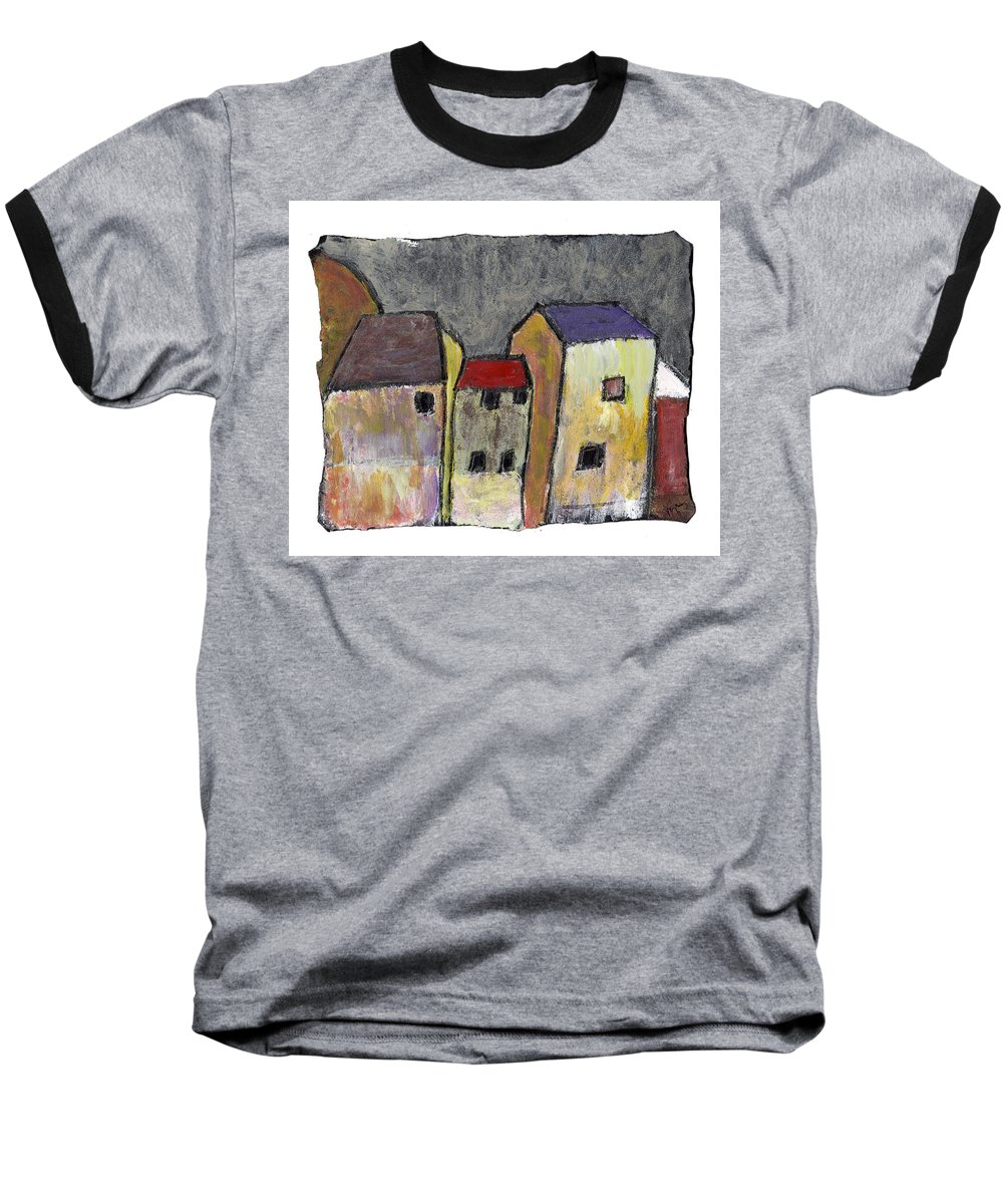 Buildings Baseball T-Shirt featuring the painting Where Once There Was by Wayne Potrafka
