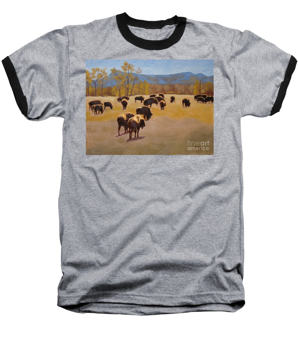 Buffalo Baseball T-Shirt featuring the painting Where The Buffalo Roam by Tate Hamilton