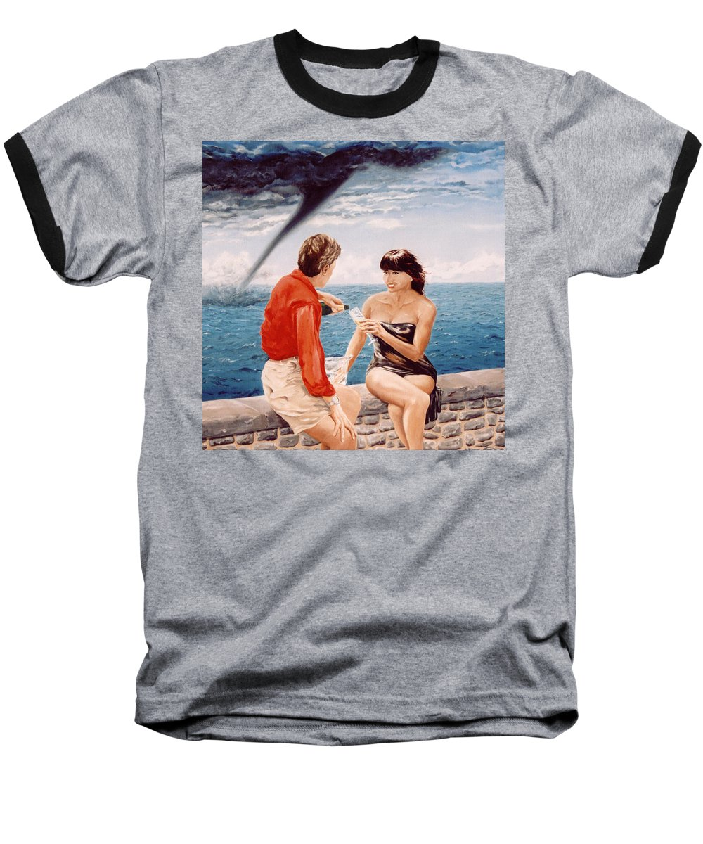 Whirlwind Baseball T-Shirt featuring the painting Whirlwind Romance by Mark Cawood