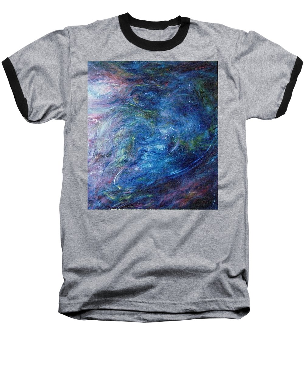 Abstract Baseball T-Shirt featuring the painting Whispers In A Sea Of Blue by Nancy Mueller