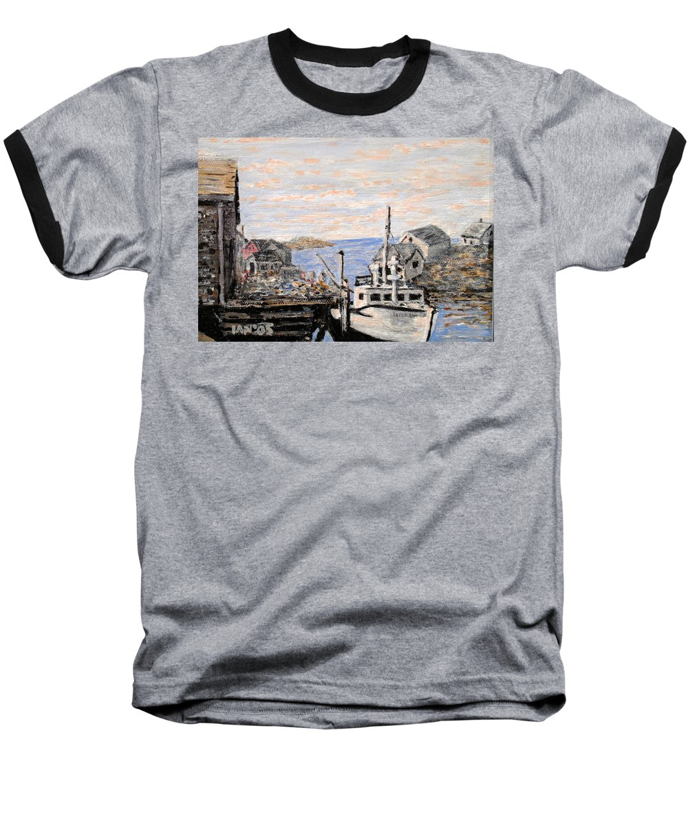 White Baseball T-Shirt featuring the painting White Boat In Peggys Cove Nova Scotia by Ian MacDonald