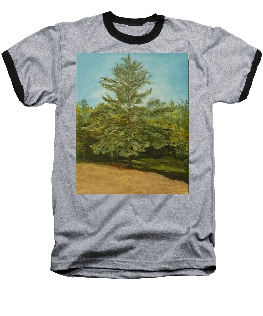 Pine Tree Baseball T-Shirt featuring the painting White Lake by Leah Tomaino