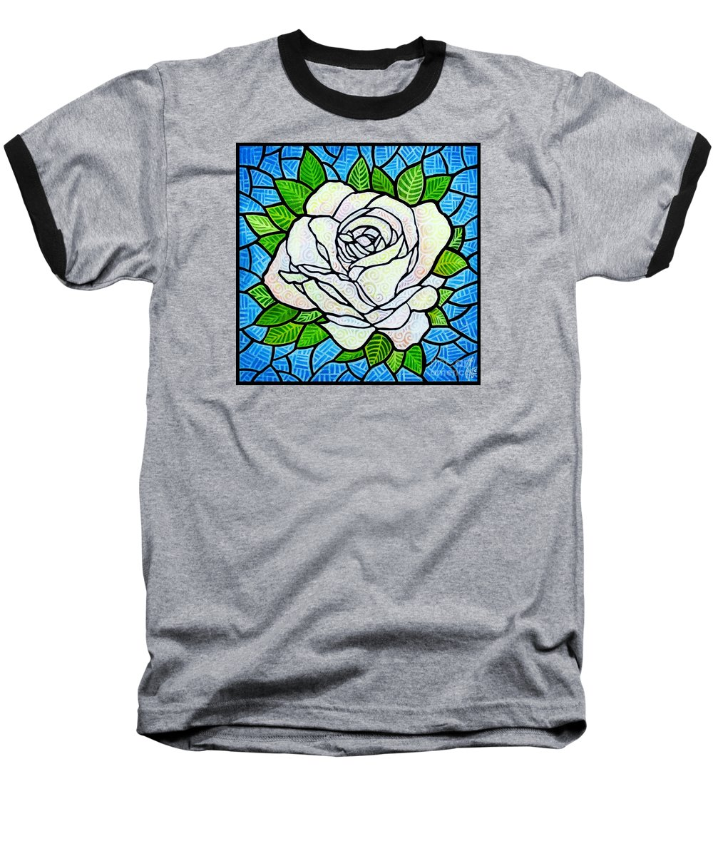 White Baseball T-Shirt featuring the painting White Rose by Jim Harris
