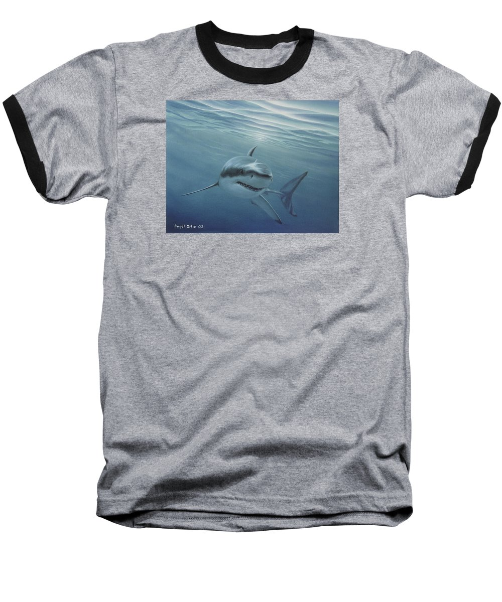 Shark Baseball T-Shirt featuring the painting White Shark by Angel Ortiz