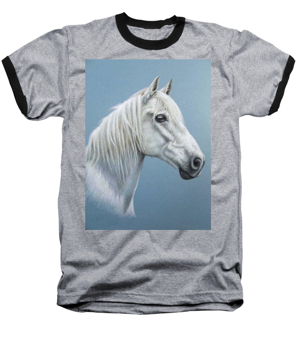 Horse Stallion White Pferd Portrait Animal Realism Pastel Baseball T-Shirt featuring the pastel White Stallion by Nicole Zeug