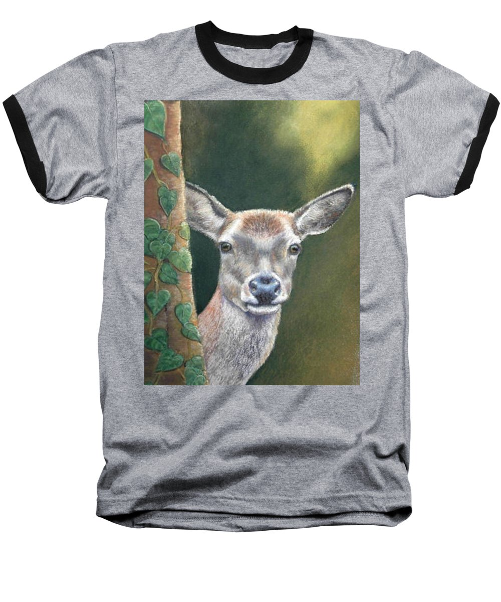 Rainforest Baseball T-Shirt featuring the painting White Tail Doe At Ancon Hill by Ceci Watson