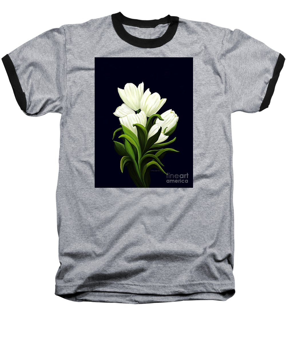 Mixed Media Baseball T-Shirt featuring the painting White Tulips by Patricia Griffin Brett