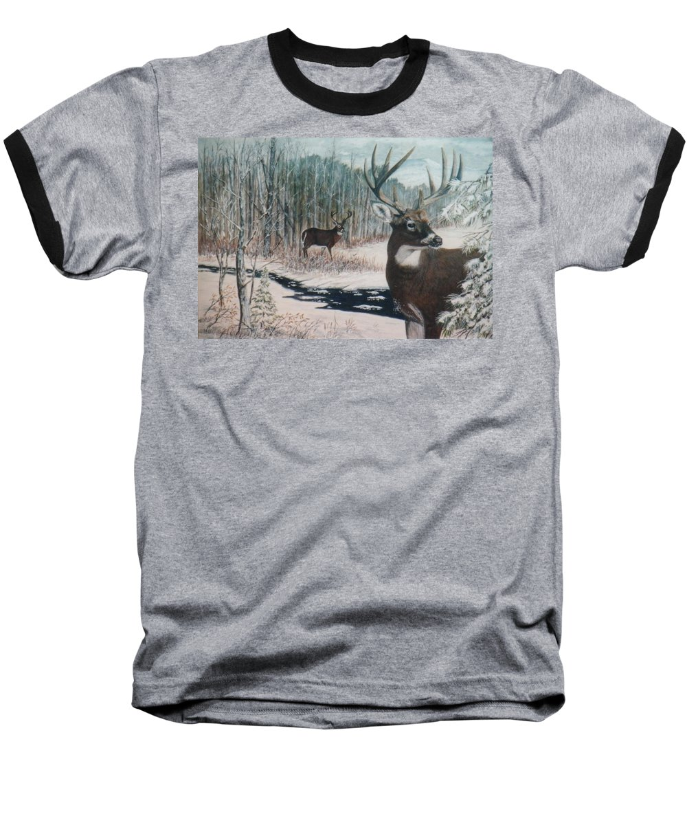 Deer; Snow; Creek Baseball T-Shirt featuring the painting Whitetail Deer by Ben Kiger