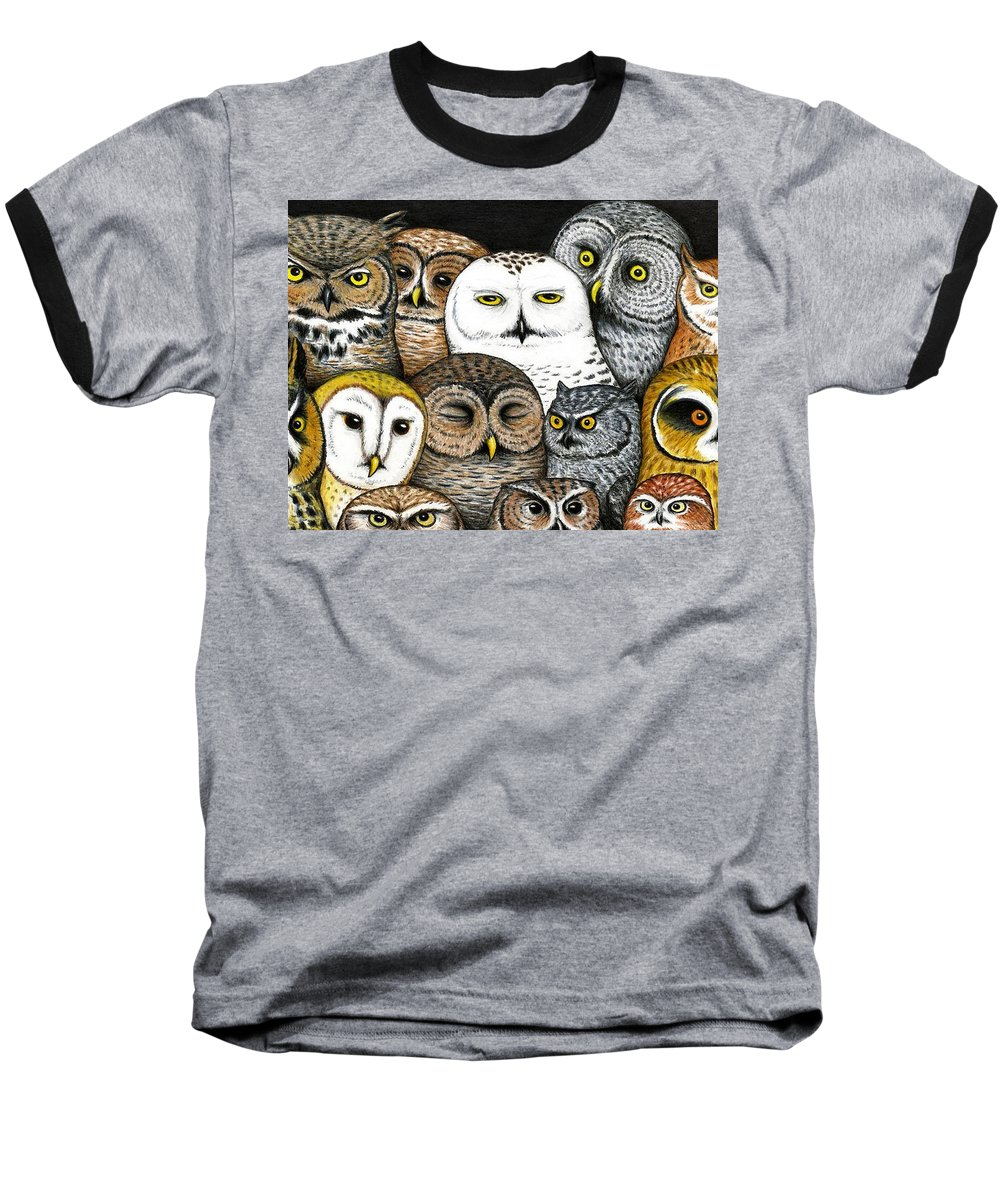 Art Baseball T-Shirt featuring the painting Who's Hoo by Don McMahon
