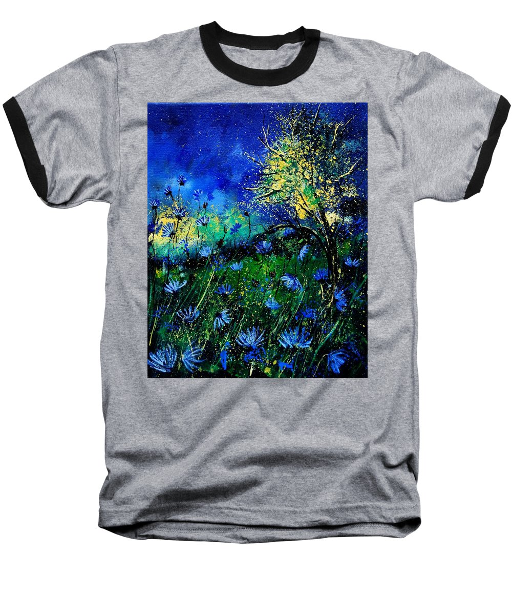 Poppies Baseball T-Shirt featuring the painting Wild Chocoree by Pol Ledent