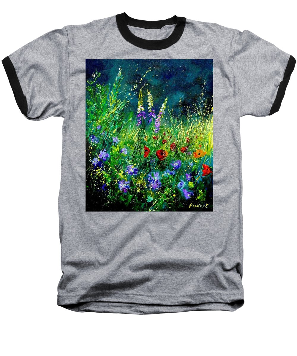 Poppies Baseball T-Shirt featuring the painting Wild Flowers by Pol Ledent