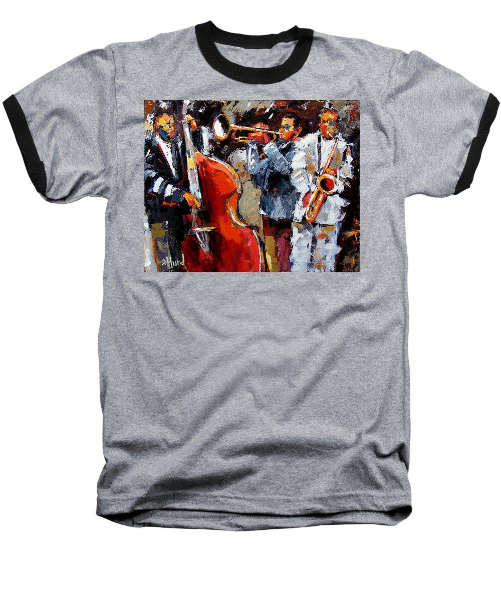 Jazz Baseball T-Shirt featuring the painting Wild Jazz by Debra Hurd
