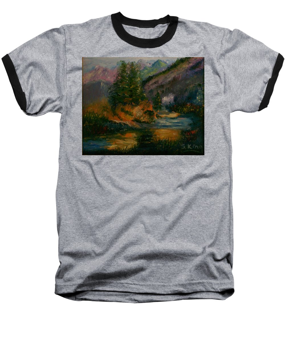 Landscape Baseball T-Shirt featuring the painting Wilderness Stream by Stephen King