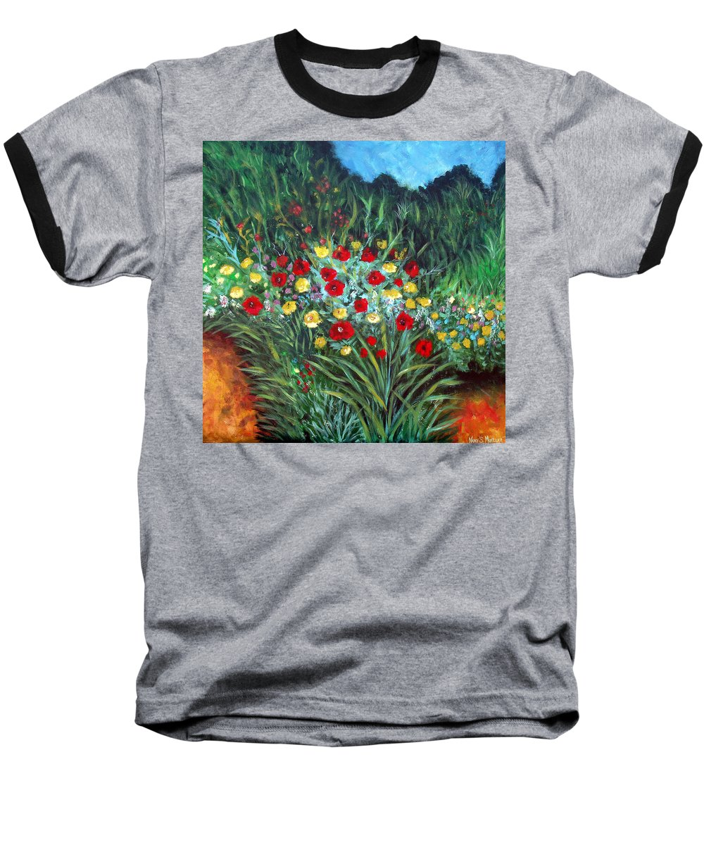 Abstract Baseball T-Shirt featuring the painting Wildflower Garden 1 by Nancy Mueller
