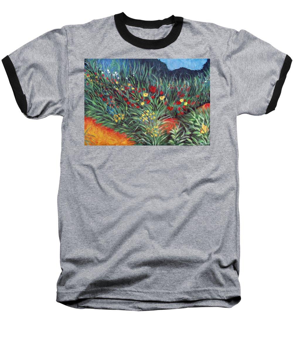 Landscape Baseball T-Shirt featuring the painting Wildflower Garden 2 by Nancy Mueller