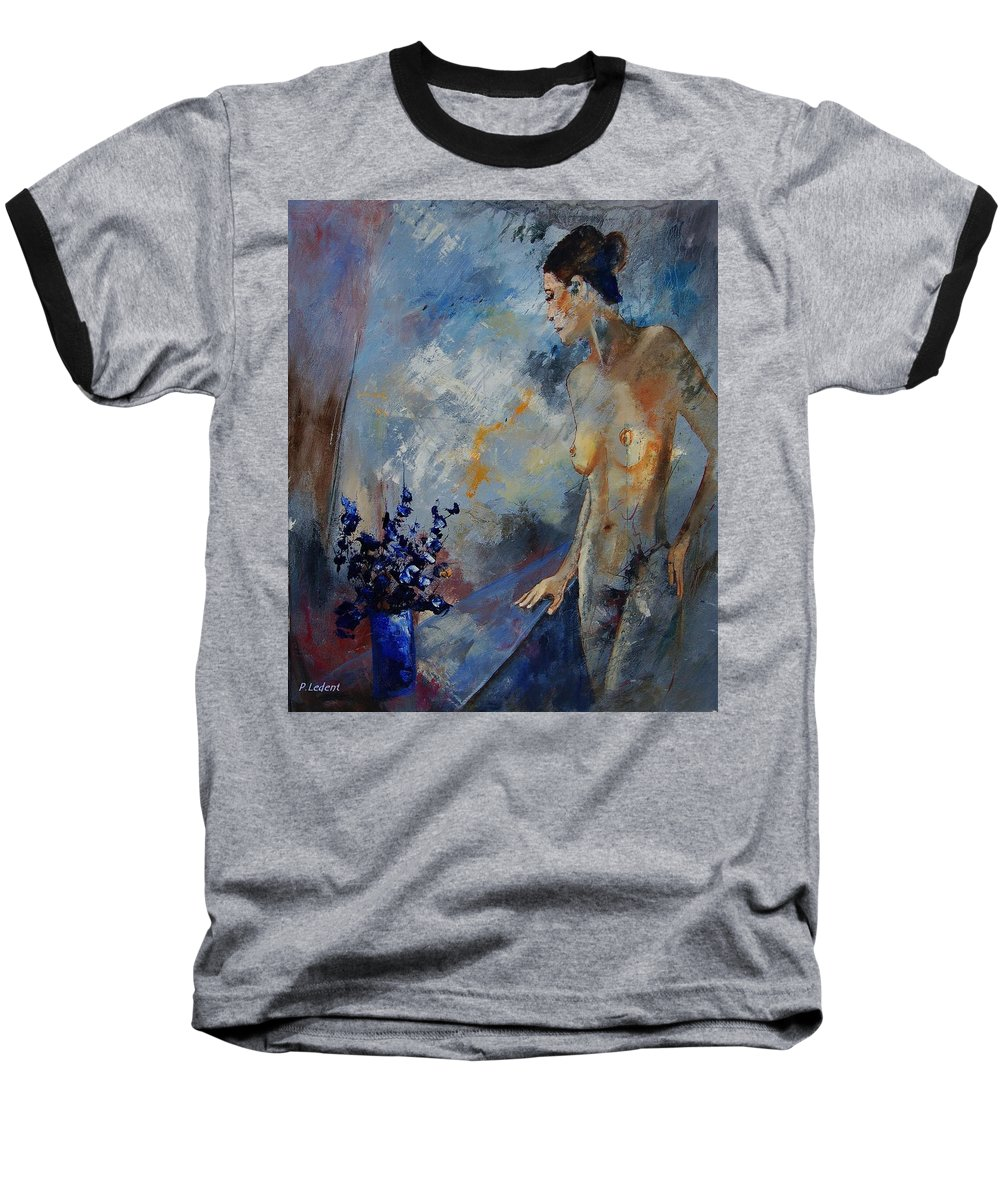 Girl Baseball T-Shirt featuring the painting Will He Be Coming by Pol Ledent
