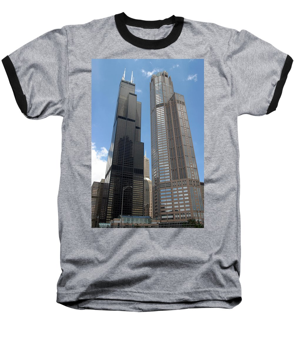 3scape Baseball T-Shirt featuring the photograph Willis Tower Aka Sears Tower And 311 South Wacker Drive by Adam Romanowicz