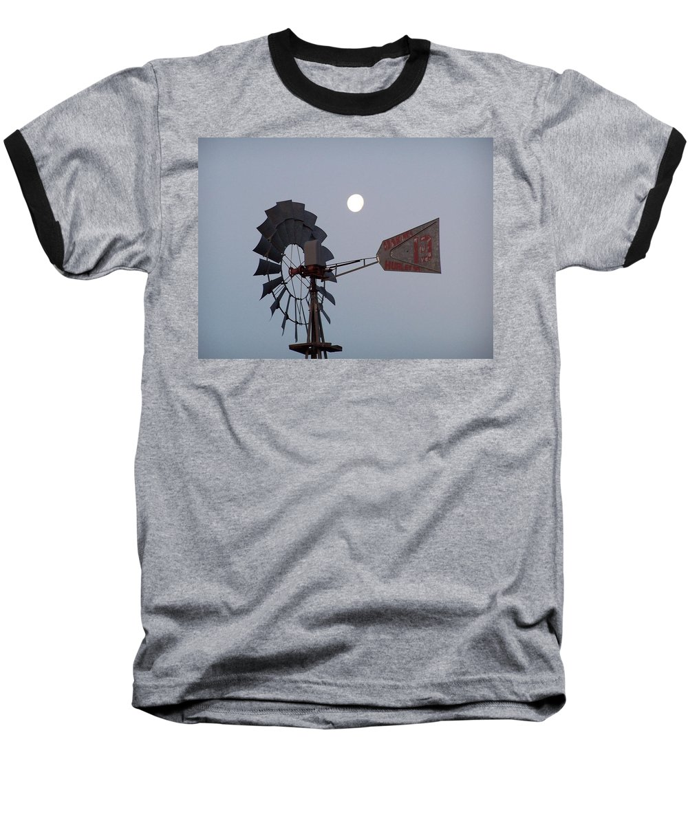 Windmill Baseball T-Shirt featuring the photograph Windmill Moon by Gale Cochran-Smith
