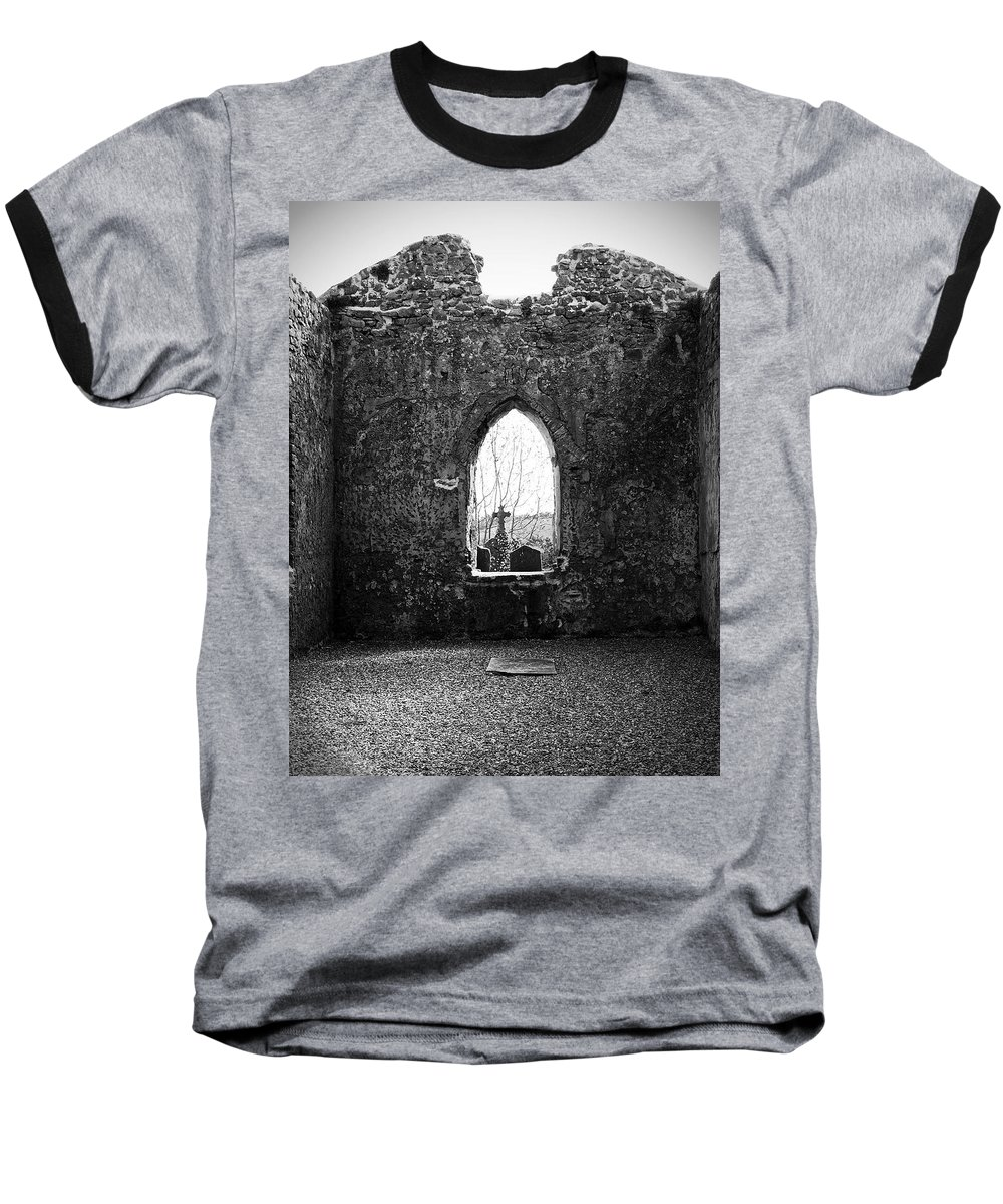 Ireland Baseball T-Shirt featuring the photograph Window At Fuerty Church Roscommon Ireland by Teresa Mucha