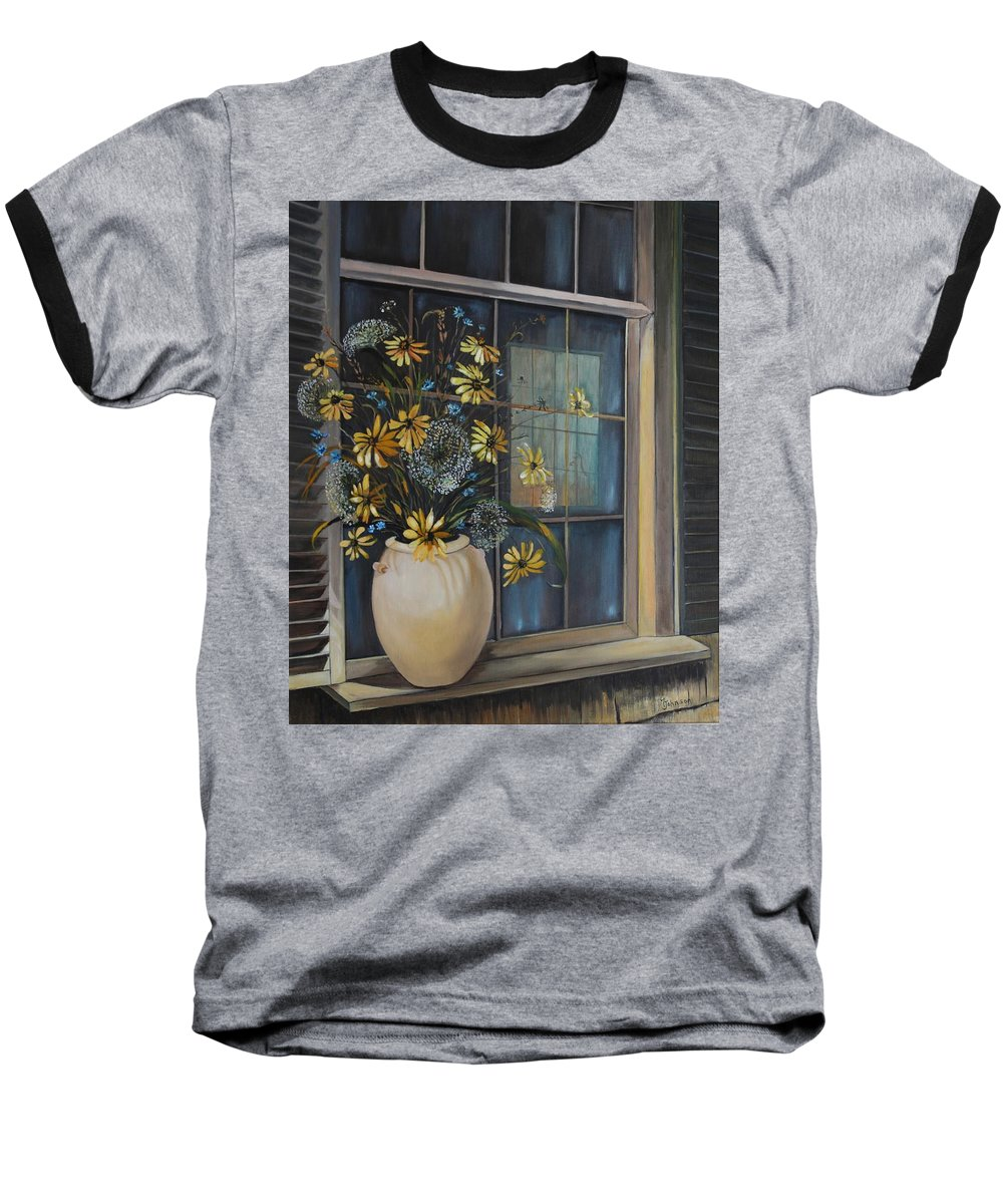 Wild Flowers Baseball T-Shirt featuring the painting Window Dressing - Lmj by Ruth Kamenev