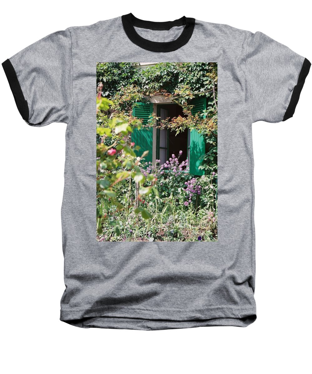 Charming Baseball T-Shirt featuring the photograph Window To Monet by Nadine Rippelmeyer