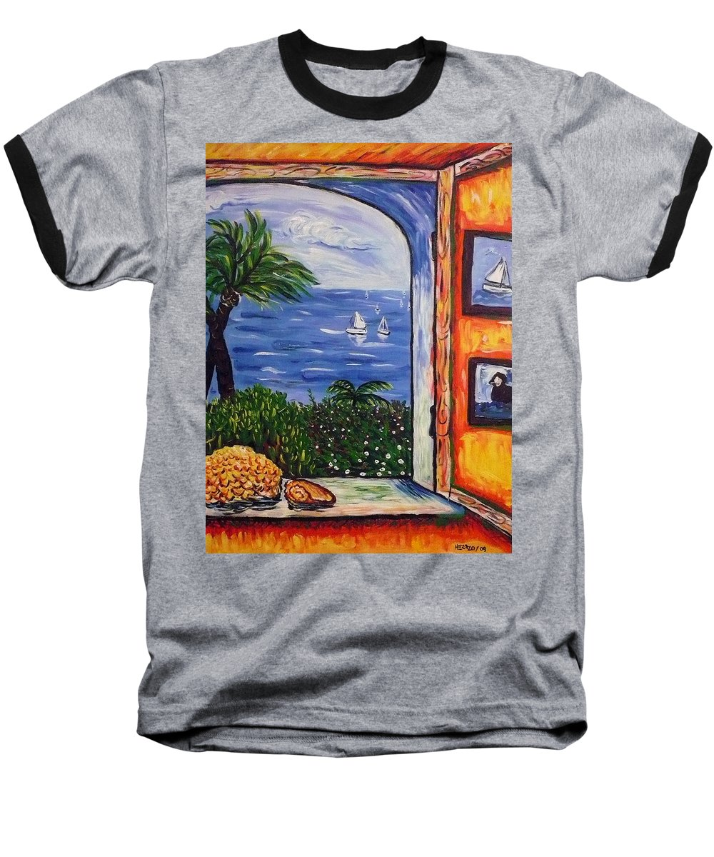 Landscape Baseball T-Shirt featuring the painting Window With Coral by Ericka Herazo